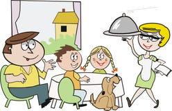 Dessin animé de mealtime de famille Photos libres de droits