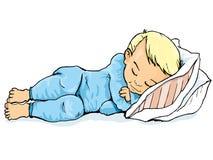 Dessin animé de petit garçon dormant sur un oreiller Image libre de droits