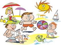Dessin animé de plage de famille d'amusement Photo stock