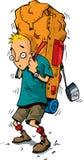 Dessin animé de randonneur avec le sac à dos lourd illustration stock