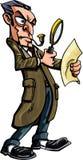 Dessin animé de Sherlock Holmes avec la loupe Photographie stock