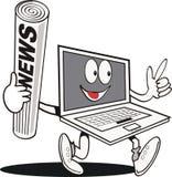 Dessin animé drôle d'ordinateur portatif Image libre de droits