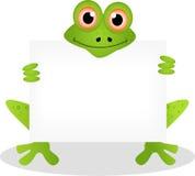 Dessin animé drôle de grenouille avec le signe blanc Photo stock
