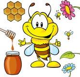 Dessin animé drôle d'abeille Photographie stock libre de droits