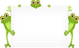Dessin animé drôle de grenouille avec le signe blanc Image stock