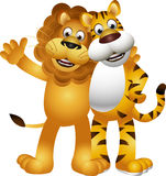 Dessin animé drôle de tigre et de lion Photographie stock libre de droits