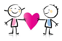 Dessin animé du jour de Valentine Photographie stock libre de droits