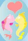Dessin animé embrassant des poissons Images stock