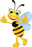 Dessin animé femelle drôle d'abeille Photo stock