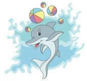 Dessin animé heureux de dauphin Images libres de droits