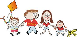 Dessin animé heureux de famille Photo libre de droits