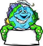 Dessin animé heureux de signe de fixation de la terre de planète illustration libre de droits