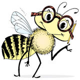 Dessin animé intelligent d'abeille Photo stock