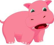 Dessin animé mignon d'hippopotame Image libre de droits