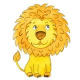 Dessin animé mignon de lion Illustration tirée par la main d'aquarelle Images libres de droits