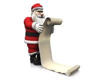 Dessin animé Santa retenant le long wishlist. illustration libre de droits