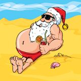 Dessin animé Santa sur la plage Photo stock