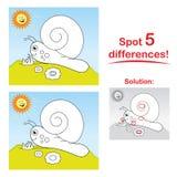 Dessin animé d'escargot : Différences de l'endroit 5 ! Photos libres de droits