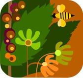 Dessin animé d'un jardin avec des fleurs et des abeilles Photo stock