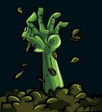 Dessin animé d'une main verte de zombi Photos stock