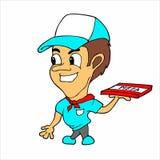Dessin animé de garçon de distribution de pizza Image libre de droits