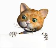 Dessin animé Kitty avec le bord du signe blanc - avec le chemin de découpage Photos stock