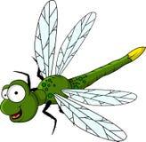 Dessin animé vert drôle de libellule Images libres de droits
