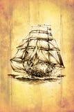 Dessin antique de mer de bateau fait main Photographie stock