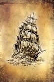 Dessin antique de mer de bateau fait main Photos stock