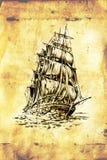 Dessin antique de mer de bateau fait main Photo libre de droits