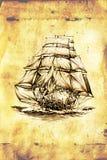Dessin antique de mer de bateau fait main Image libre de droits