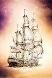 Dessin antique de mer de bateau fait main Photos libres de droits