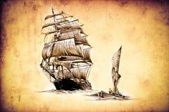 Dessin antique de mer de bateau fait main Images stock