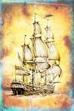 Dessin antique de mer de bateau fait main Image stock