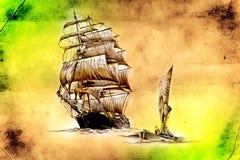 Dessin antique de mer de bateau fait main Images libres de droits