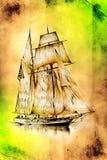 Dessin antique de mer de bateau fait main Photo stock