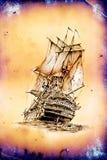 Dessin antique de mer de bateau fait main Photographie stock libre de droits