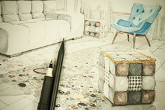 Dessin architectural de perspective à main levée d'aquarelle et d'encre de salle à manger dans un appartement à plat avec le cray illustration de vecteur