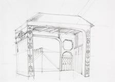 Dessin architectural de porte rustique illustration stock