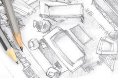 Dessin architectural de vue supérieure de salon avec des outils de dessin Photographie stock libre de droits