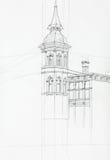 Dessin architectural du bâtiment de tour illustration libre de droits