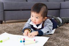 Dessin asiatique de bébé garçon Photo stock