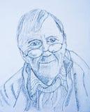 Dessin au crayon : autoportrait Photos stock