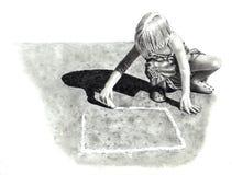 Dessin au crayon de fille jouant le jeu de marelle Images libres de droits