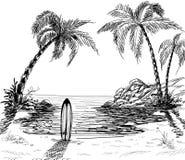 Dessin au crayon de paysage marin illustration de vecteur