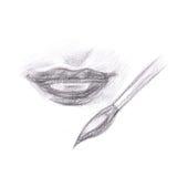 Dessin au crayon des lèvres de maquillage Images stock