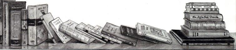 Dessin au crayon des livres Photographie stock libre de droits