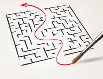 Dessin au crayon la sortie de sortie du labyrinthe photo stock