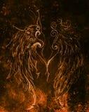 Dessin au crayon sur le papier Angel Wings Effet de couleur Images stock