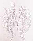 Dessin au crayon sur le vieux papier Angel Wings Images stock